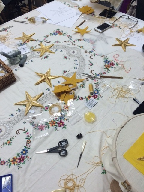 Hawthorne & Heaney loves the London Embroidery School's Christmas Stars Goldwork Workshop London Hand Embroidery