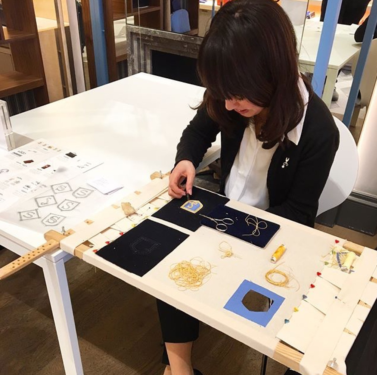 Hawthorne & Heaney for Smythson's London Craft Week Event London Hand Embroidery