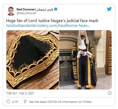 Hawthorne & Heaney: Lord Justice Nugee Covid Style Icon London Hand Embroidery